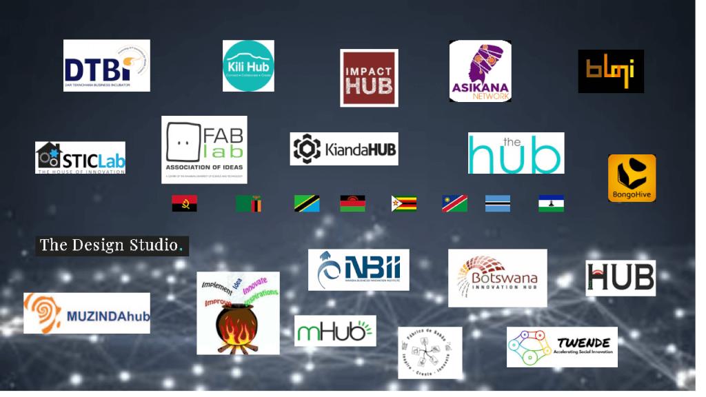 Key technology hubs in Malawi, Tanzania, Zimbabwe, Namibia, Botswana, Angola, Lesotho